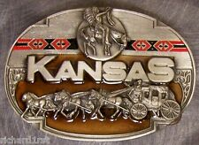 Pewter Belt Buckle State of Kansas colored NEW