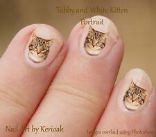 Tabby Kitten Portrait , 24 Unique Designer Cat Nail Art Stickers Decals