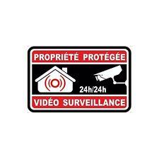 Autocollant propriété sous vidéo surveillance alarme logo n°8 sticker 5x5 cm