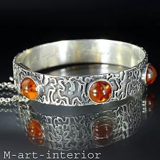 Expressiv-Abstrakt Silber Bernstein Armreif Armband 60er amber bracelet vintage