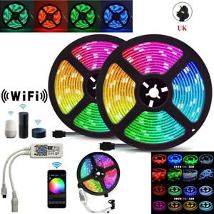 5m 10m 20M 5050 3528 RGB WiFi LED Strip Lights Bluetooth Controller Alexa Google