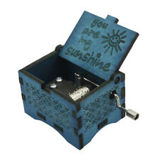 Music Box You are My Sunshine blue,Wooden Classic Music Box Crafts w Hand Crank