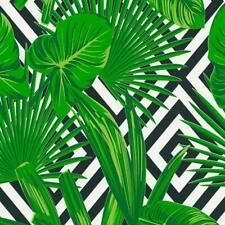 Green Tropical Leaf on Black and White Geometric Wallpaper 36811-2