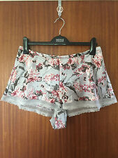 M&S Autograph Ladies Grey & Pink Floral Luxurious Silk French Knickers, Size 14