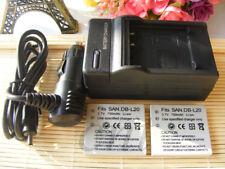 2XBattery +Charger For Sanyo DB-L20 DB-L20AU DBL20 VPC-C40 VPC-C5 VPC-C6 VPC-CA6