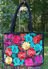 Maya Mexican Hand Embroidered Zipper Tote Bag Chiapas Flowers Teal Pink Yellow