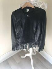 Cache Black Leather Fringes Jacket Size 6