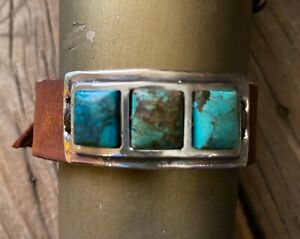 STERLING SILVER & VARIEGATED TURQUOISE STONES CUFF BRACELET BEAUTIFUL! NEW!