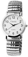 Damen Herren Armbanduhr Weiss/silber Metall-zugarmband 18cm Armumfang Classix