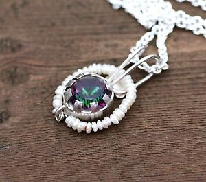 Natural Pearl and Mystic Topaz Pendant in Sterling Silver 4th 30th Anniversary