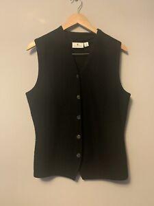 Sportscraft Ladies Knit Vest Size M Black 100% Wool Button Front Waistcoat