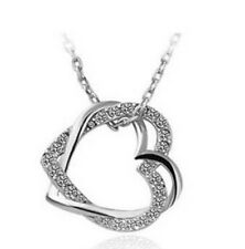 Women Valentine's Gift Double Heart Necklace Crystal Rhinestone Chain Pendant Y6