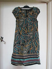 Green & Brown Paisley Short Sleeve Knee Length D Perkins Dress in Size 10