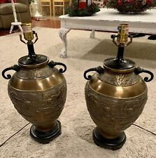 Mid Century Asian Pair Of Brass Lamps In The Style Of James Mont