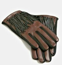 """""""ABBACINO"""" Designer Brown Leather Black Leather Fringed Gloves RRP: £40 BNWT!!!"""