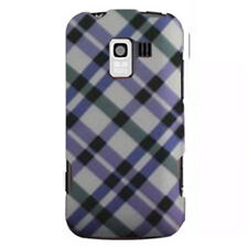 LG Enlighten Optimus Q Slider HARD Protector Case Snap Phone Cover Purple Plaid