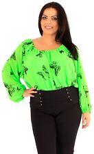New Womens Plain Butterfly Print Chiffon Corset Gypsy Blouse Tops 18-24