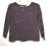 Ann Taylor Loft Womens Magenta Long Sleeve Scoop Neck Lace See Through Shirt S