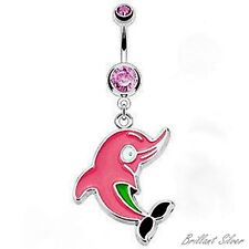 Belly Button Piercing Silver Navel Piercing Stud Pendant Dolphin