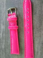 WATCH BAND BRACELET MONTRE  SIMILI CUIR ///// *rose fluo*////*18MM *   REF GM92