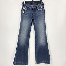 7 for all Mankind Women's Size 25 x 33 Dojo Grommet Flare Jeans U115B162U-162U