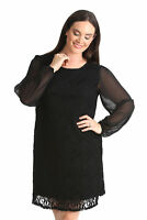 New Ladies Plus Size Dress Womens Floral Lace Chiffon Sleeves Tunic Nouvelle
