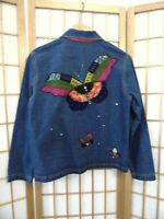 Chico's Size 0 Denim Jacket Blue Embellished Beads Rhinestones Butterflies