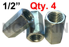Qty 4 Hex Rod Coupling Nuts 1/2-13 x 1-1/4 Threaded Rod Connectors Zinc Coupler