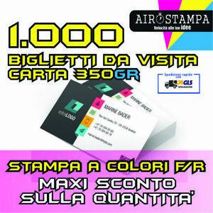 STAMPA 1000 BIGLIETTI DA VISITA SOLO  FRONTE  350 gr - 1000 BIGLIETTINI A COLORI