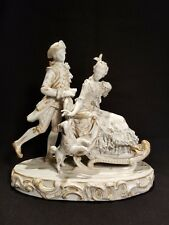 Meissen porcelain figure group 18th century lady on sled man pushing with dog