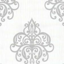 P&S International Opal Damask Pattern Wallpaper Metallic Embossed Motif White