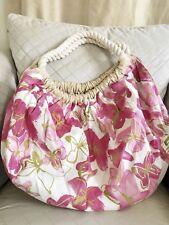 NIB Hanae Mori Summer Butterfly Reversible Large Tote Handbag Purse Hobo Pink