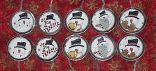 10 Primitive Christmas Holiday Snowman Metal Rim Gift Hang Tags Ties Ornies