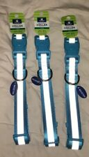 """Top Paw adjustable Reflective Dog Collar Large 18-26"""" New Light Blue Silver"""