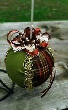 Fancy Beaded Country Plaid Ribbon Ball Christmas Ornament~Moss Green/Gold/Brown~