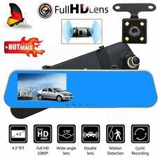 Dashcam con cámara de visión trasera HD retrovisor dual cámara DVR G-Sensor