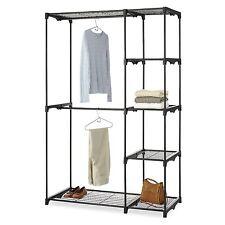 Black Free Standing Portable Double Rod Closet Wardrobe Organiser Storage Rack