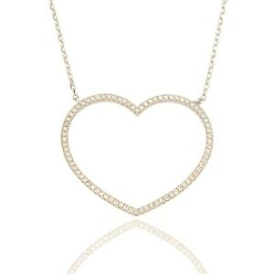 """Sterling Silver CZ Large Open Heart Pendant & Chain, 18"""", P634"""