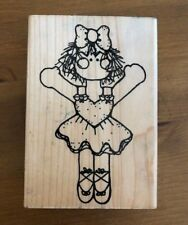 D.O.T.S Ballerina Doll, Mounted Rubber Stamp, Used, Girl, Dancing, Heart
