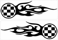 Set 2x aufkleber sticker auto motorrad zielflagge flamme jdm tuning