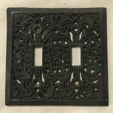 Vtg Black Cast Iron Ornate Floral Double Light Switch Plate