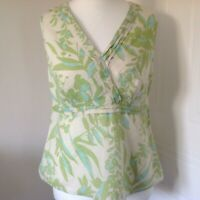 Monsoon Green Turquoise Patterned Linen Cotton Mix Sleeveless Top Blouse Size 16