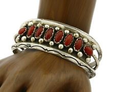 Navajo Coral Bracelet .925 Silver Handmade Natural Mined C.1980's