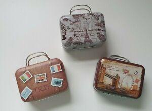 3 kleine Koffer Dose in Kofferform Deko Basteln Geschenkgutschein