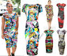 NEW WOMENS LADIES CAP SLEEVE COMIC MICKEY MOUSE PRINT STRETCH BODYCON MIDI DRESS