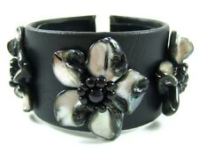 "1.6"" Black Flower Mother of Pearl Leather Cuff Bracelet 6""-8"" adjustable ; GA069"