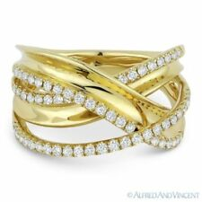 Wrap Ring in 14k Yellow Gold 0.53ct Diamond Pave Right-Hand Overlap Loop Fashion