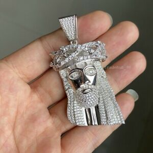 5.0ct Moissanite Diamond Jesus Head Pendant Necklace 925 Sterling Silver VVS 74g