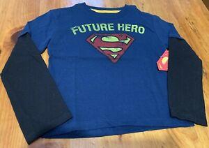 Future Hero Superman Toddler Boys Navy w/Black Long Sleeve Shirt, Size 4Y