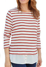 UK Sizes 8 - Plus 34 Ladies Striped Knit Sweater Top With Hem in Navy or Red 30 Red
